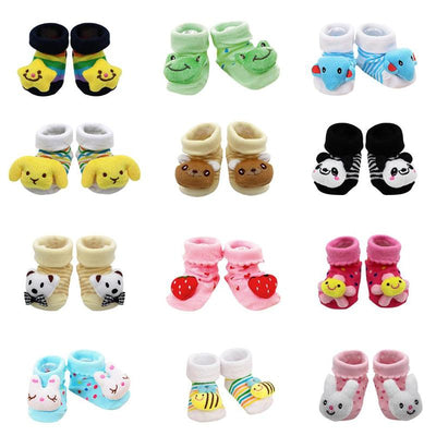 6 Pairs Baby Newborns Cotton Animal Infant Anti-slip Toddle Socks Slipper Shoes Reasonable Thickness Comfortable Touch - ibootskids