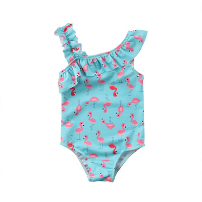 Baby Girls Swimsuit Cute Kids Sleeveless Ruffle Flamingo  Romper Swimwear Bikini Tankini Swimsuit Swimming - ibootskids