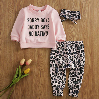 Baby Girls Clothes Set Newborn Letter Tops T Shirt Leopard Print Pants Spring Autumn 3pcs Baby girl Cotton Clothes Outfits - ibootskids