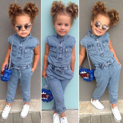 Summer Canis Newborn Kids Baby Girl Denim Short Sleeve Romper Long Pants Jumpsuits Playsuit Outfit Clothes Denim Romper Overalls - ibootskids