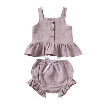 Baby Girls Button Sleeveless Tank Tops - ibootskids