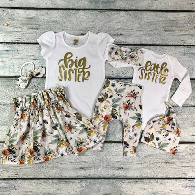Baby Girl Little Big Sister Match Clothes Romper T-shirt Pants Tutu Dress Outfit - ibootskids