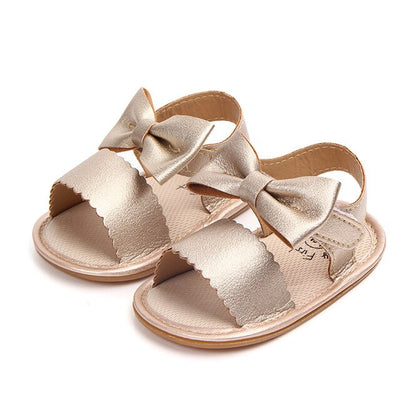 Newborn Infant Baby Girls Bowknot Princess Shoes Toddler Summer Sandals PU Non-slip Rubber ShoesSize 0-18M - ibootskids
