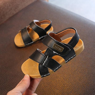 Summer Boys Button Beach Shoes Sandals For Babies Leather Casual Shoes Breathable New Children's Sandals Outwear Footwear - ibootskids