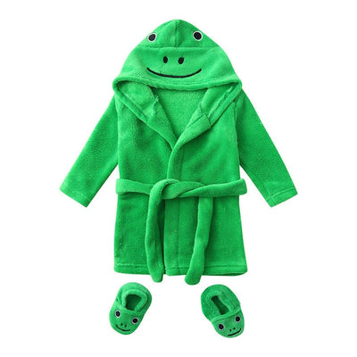 Winter Cute Warm Bathrobes Infant Boys Girls Cartoon Bear Rabbit Knee-Length Bath Robe Hoodie robe Peignoir Albornoz Sleepwear - ibootskids