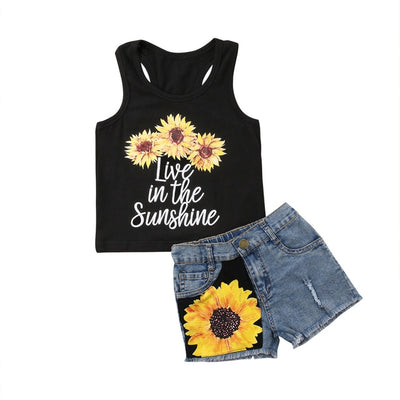 Sunflower Toddler Baby Girl set Clothes sleeveless letter  Vest Tank Top+Short Pants Summer Outfits set clothes - ibootskids
