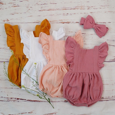 Organic Cotton Baby Girl Clothes Summer New Double Gauze Kids Ruffle Romper Jumpsuit Headband Dusty Pink Playsuit For Newborn 3M - ibootskids