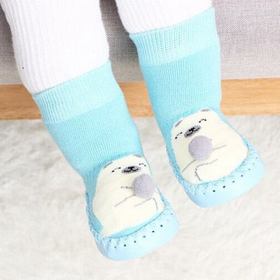 Toddler Indoor Sock Shoes Newborn Baby Socks Winter Thick Terry Cotton Baby Girl Sock With Rubber Soles Infant Animal Funny Sock - ibootskids