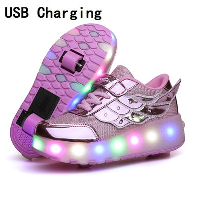 Children One Two Wheels Luminous Glowing Sneakers Gold Pink Led Light Roller Skate Shoes Kids Led Shoes Boys Girls USB Charging - ibootskids