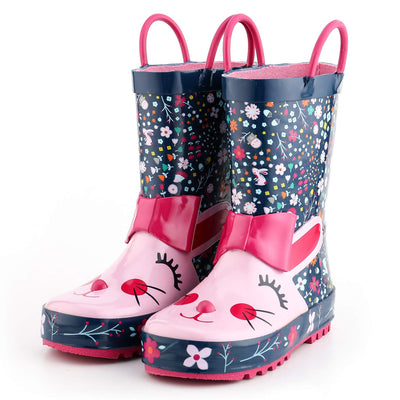 KushyShoo Kids Rain Boots Children's Rubber Boots with 3D Rabbit Patterns Kids Boots Girls Toddler Water Shoes Rainboots - ibootskids