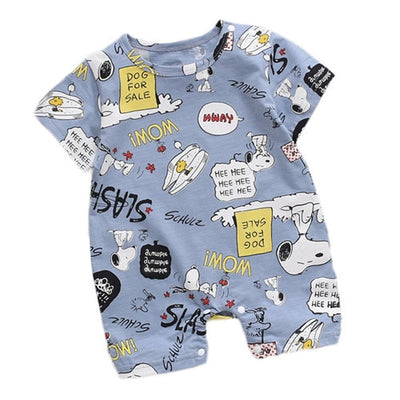 Newborn Summer Baby Boy Romper Short Sleeve Cotton Infant Jumpsuit Cartoon Printed Baby Girl Rompers Newborn Baby Clothes - ibootskids