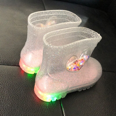 Rain Boots Kids Cute Princess Crystal Children Shoes Baby Girl LED Light  Fashion Heart High-Top Kids Winter Summer Luminous - ibootskids