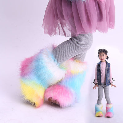 Children Snow Boots Winter New Toddler Girl Boots Fashion Colorful Fur Kids Ankle Boots Plus Velvet Warm Cotton Shoes for Girls - ibootskids