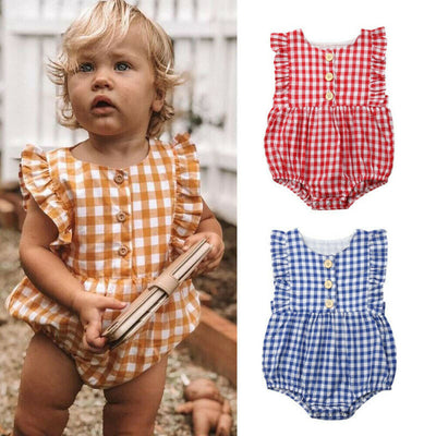 Newborn Infant Baby Girl Ruffle Plaid Romper Sleeveless Jumpsuit One Piece Outfits Sunsuit Toddler Girl Summer Clothes - ibootskids
