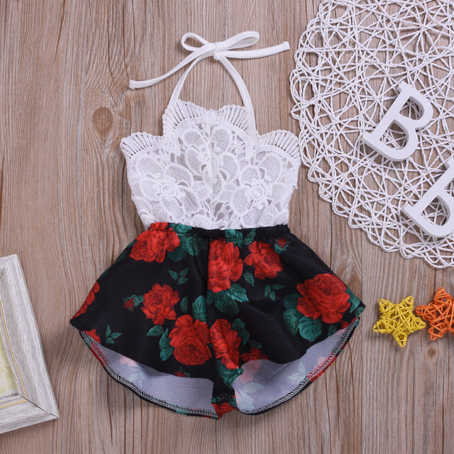 Pudcoco Summer Newborn Baby Girl Clothes Sleeveless Lace Flower Print Strap Romper Jumpsuit One-Piece Outfit Summer Clothes - ibootskids