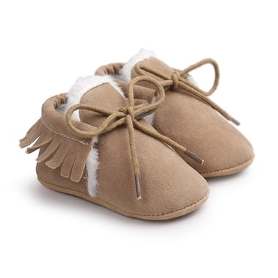 Newborn Baby Boy Girl Moccasins Shoes Fringe Soft Soled Non-slip Footwear Crib Shoes PU Suede Leather First Walker Shoes - ibootskids