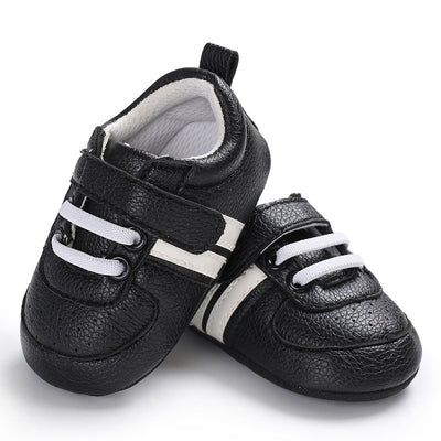 Baby Shoes Pu Leather Shoes Sports Sneakers Newborn Baby Boys Girls Stripe Pattern Shoes Infant Toddler Soft Anti-slip Shoes - ibootskids