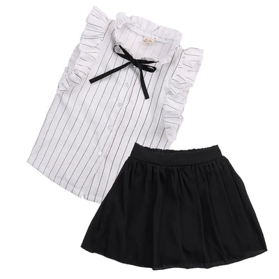 2PCS Set Girls Dress Kids Baby girl striped sleeveless Tops+ solid Skirt  Outfits Clothes set - ibootskids