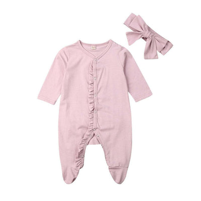 0-12M Newborn infant Baby Footies jumpsuit +Headdress long sleeve ruffled solid cotton comfortable baby boy girl clothes - ibootskids