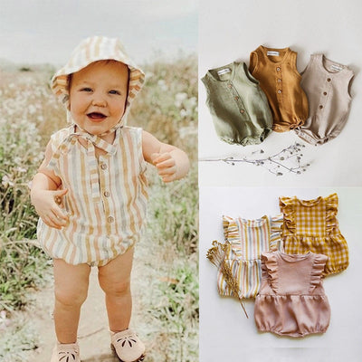 2020 Rainbow Linen Baby Boys Girls Summer Romper Brother Sister Machthing Toddler Sleeveless Rompers Baby Bubble Playsuit Onesie - ibootskids