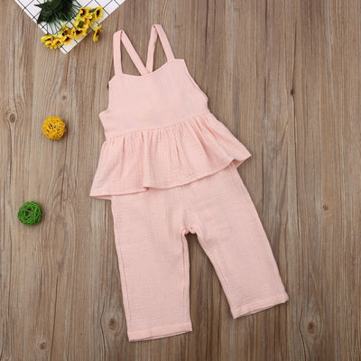 Kids Baby Girls Overalls Sleeveless Backless Romper Toddler Girl Jumpsuit Wide Leg Pants Trousers Girls Summer Clothes - ibootskids