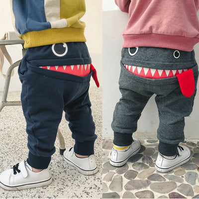 Casual Baby Children Pants Toddler Boys Girls Cute Big Mouth Monster Trousers Costumes Long Cototn Infant Cartoon Panty Clothes - ibootskids