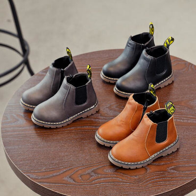 Spring Kids Leather Chelsea Boots Waterproof Children Sneakers Gray Black Boots For Baby Girl Boots Boy Shoes - ibootskids