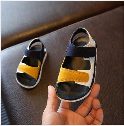 children sandals kids shoes baby boy patchwork summer beach sports soft leather sandals shoes sneakers - ibootskids