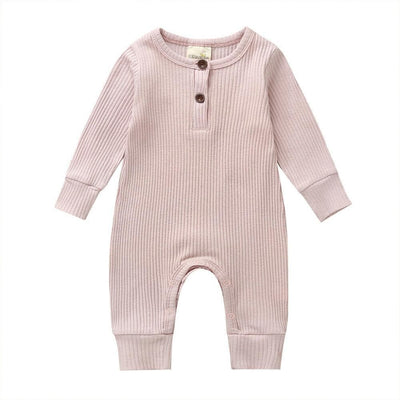 2020 Baby Spring Autumn Clothing Newborn Infant Baby Boy Girl Cotton Romper Knitted Ribbed Jumpsuit Solid Clothes Warm Outfit - ibootskids