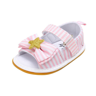 WEIXINBUY Girls Summer Cute Tartan Princess Style Bowknot Breathable Non-slip Soft Bottom Cack First Walkers 0-18M - ibootskids