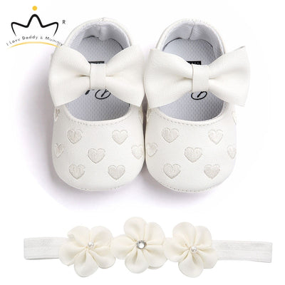 Baby Shoes Headband Set Cute Flower Unicorn Toddler Shoes For Girls Soft Sole Anti Slip Baby Girl Shoes First Walkers - ibootskids