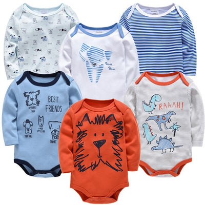 Kavkas New Baby Boys Bodysuit 6 PCS 3 PCS Long Sleeve Cotton Baby Boy Girl Clothes 0-3 months Newborn body bebe Clothing - ibootskids