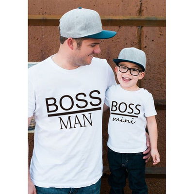 BOSS MAN and BOSS mini Little print Family Matching Father Son Kids Clothes Baby boy  Father and Son Family Look Summer Clothes - ibootskids