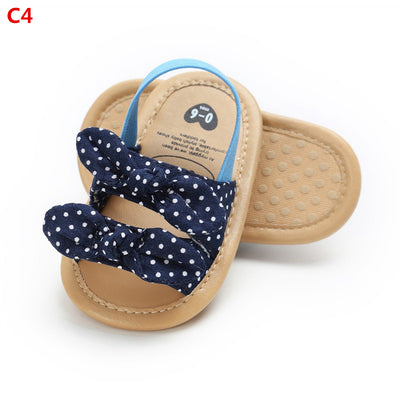 Girl Sandals Summer Baby Girl Shoes Denim Cotton Dotted Bow Baby Girl Sandals Newborn Baby Shoes Playtoday Beach Sandals - ibootskids