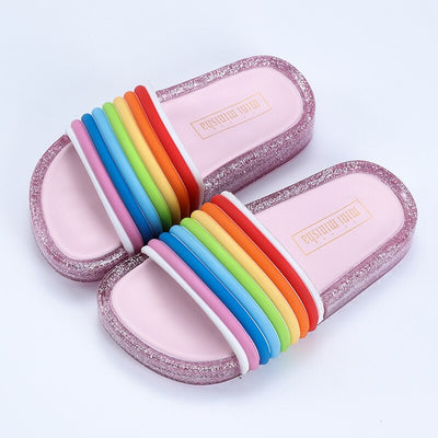 Children's Sandals for Girls Rainbow Straps Baby Slippers Kid's Summer Outdoor LED Flash lighted Slipper Princess Shoes Luminous - ibootskids