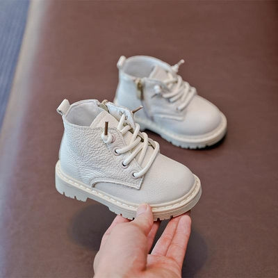 Baby Boots Genuine Leather Kids Boots Lace-up Children Snow Boots Velvet Warm Winter Shoes - ibootskids