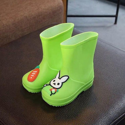 Kids Rain Boots Candy Color Cartoon Rabbits Girls Children Rubber Boots Waterproof Baby Infant Shoes All Season Removable New - ibootskids