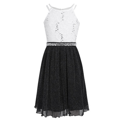 6-14 Years Kids Girls Sleeveless Sequined Floral Lace Shiny Princess Tulle Dress for Birthday Party Summer - ibootskids