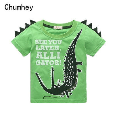 2-8 Years Boys T Shirt Summer Cotton Short Sleeves Cute Alligator Kids Shirts Boy Tops Children Clothing Child Casual Clothes - ibootskids