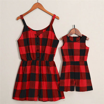 Summer Family Matching Clothes Women Girl Sleeveless Plaid Bodysuit Jumpsuit - ibootskids