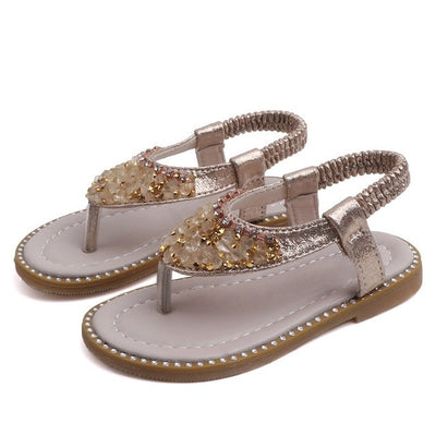 Cute Summer Kids Sandals Rhinestone Design Sandal Girl Open Toe Princess Shoes - ibootskids