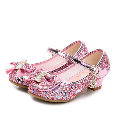 Princess Kids Leather Shoes for Girls Flower Casual Glitter Children High Heel 2020 Girls Shoes Butterfly Knot Blue Pink Silver - ibootskids