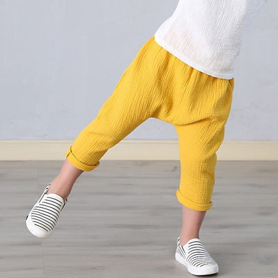 Summer Solid Color Linen Pleated Children Ankle-length Pants for Baby Boys Pants Harem Pants for Kids Child - ibootskids
