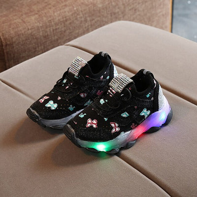 Children Butterfly Crystal Led Luminous casual breathable Sport Shoes Baby Girls Sneakers Shoes - ibootskids