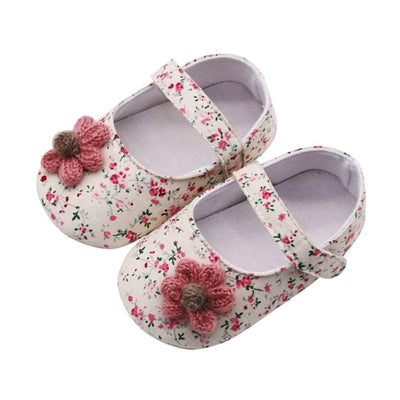 Baby Shoes Baby Girl Breathable Floral Print Anti-Slip Shoes With Flower Casual Sneakers Toddler Soft Soled First Walkers - ibootskids