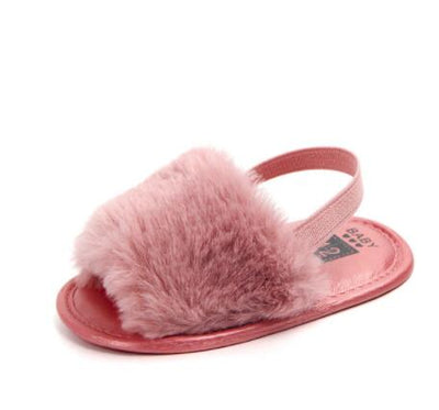 Fashion Faux Fur Summer Baby Boys Girls Sandals Soft Sole Newborn Cute Baby Shoes Non-slip Baby Sandals - ibootskids