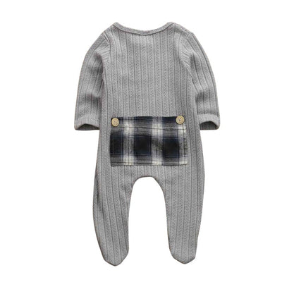 Newborn Baby Boy Girl Long Sleeve Patchwork Cotton Romper Jumpsuit Playsuit One Pieces Baby Clothes 0-9M - ibootskids