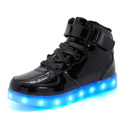 Led Shoes for kids and adults USB charger Light Up High top shoes for boys girls Fashion Party Glowing Sneakers - ibootskids