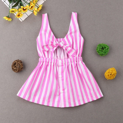 Mother Daughter Summer Striped Dress Family Matching Women Kid Girls Clothes Sleeveless Strap Bowknot Knee-Length Beach Dress - ibootskids