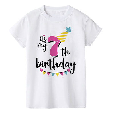 Kids Birthday Tshirt Funny Birthday Number 1-8 Print Toddler Baby Boy Girl T-shirt Summer Fashion Children Party T Shirt Clothes - ibootskids